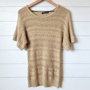 Cable & Gauge Gold Sparkle Thread Dolman Sweater S